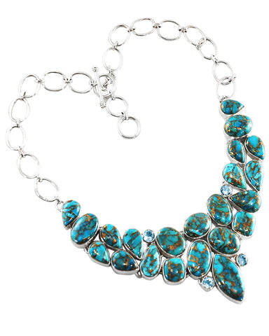 Blue Copper Turquoise Cluster Statement Necklace in Sterling Silver