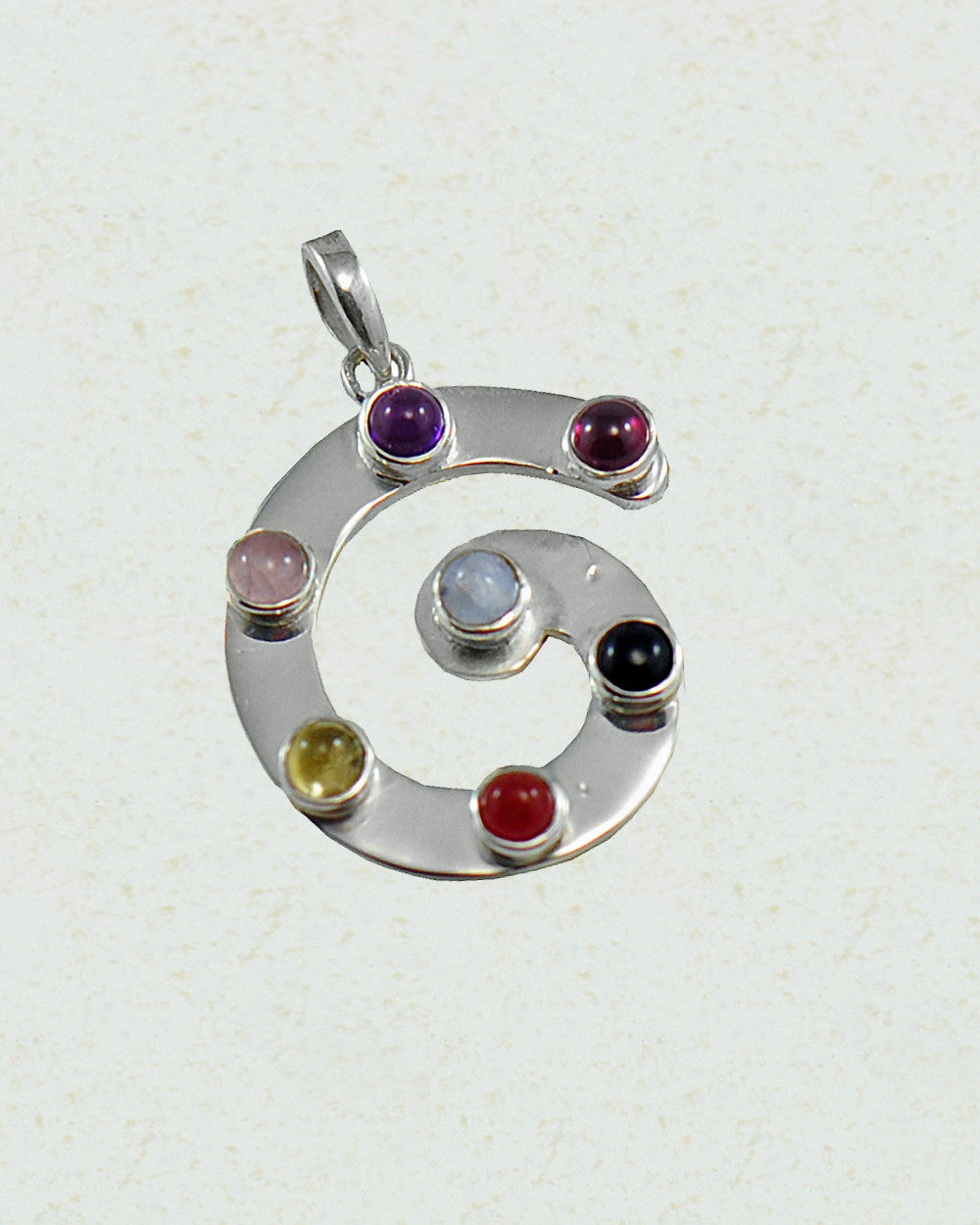 Bold Spiral Chakra Pendant in Sterling Silver - Sivalya
