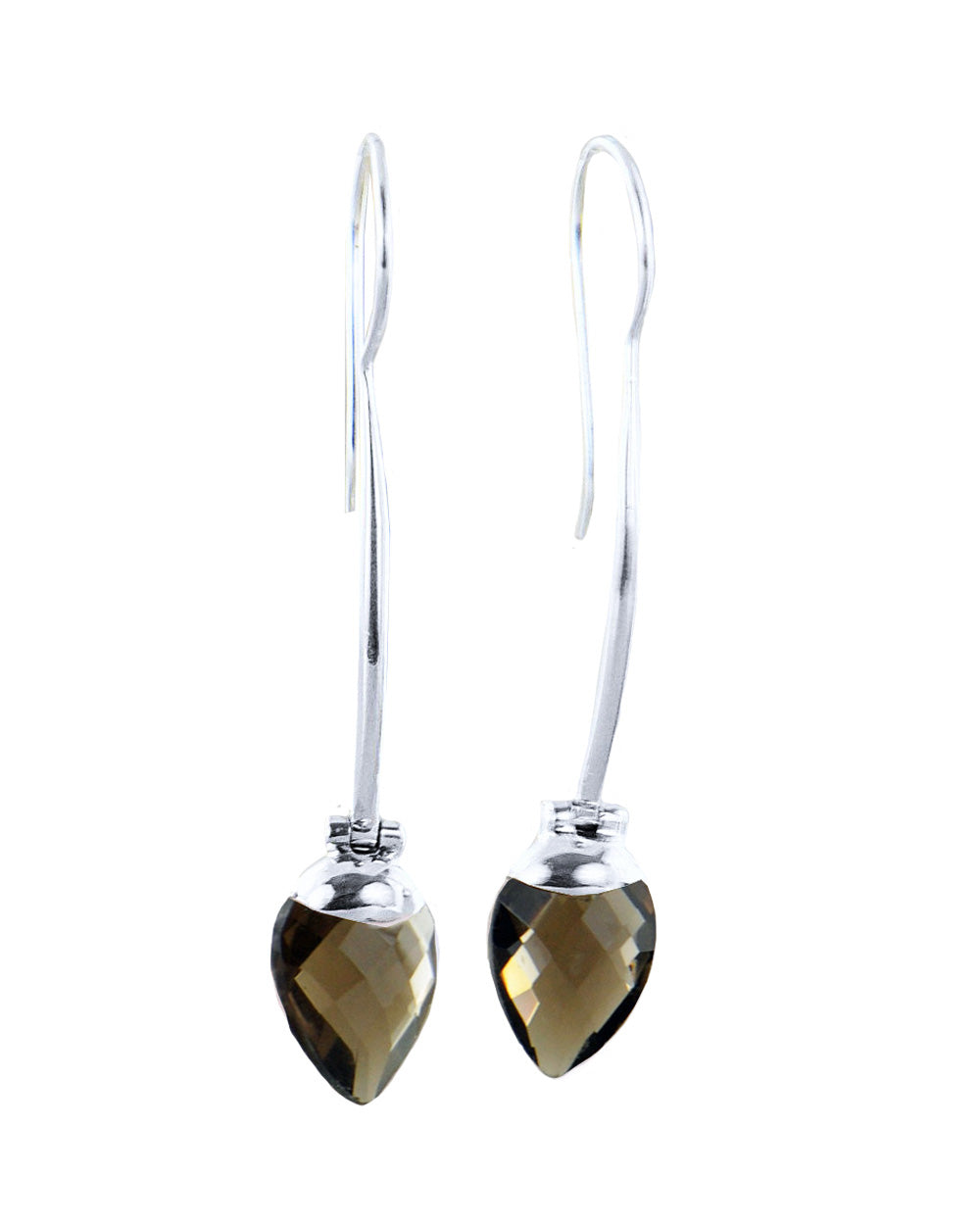 Smoky Quartz Long Dangle Drop Earrings in Sterling Silver