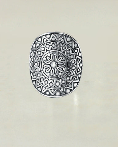 Oxidized Shield Sterling Silver Ring