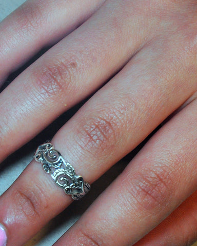 Scroll Engraved Pinky Ring in Sterling Silver