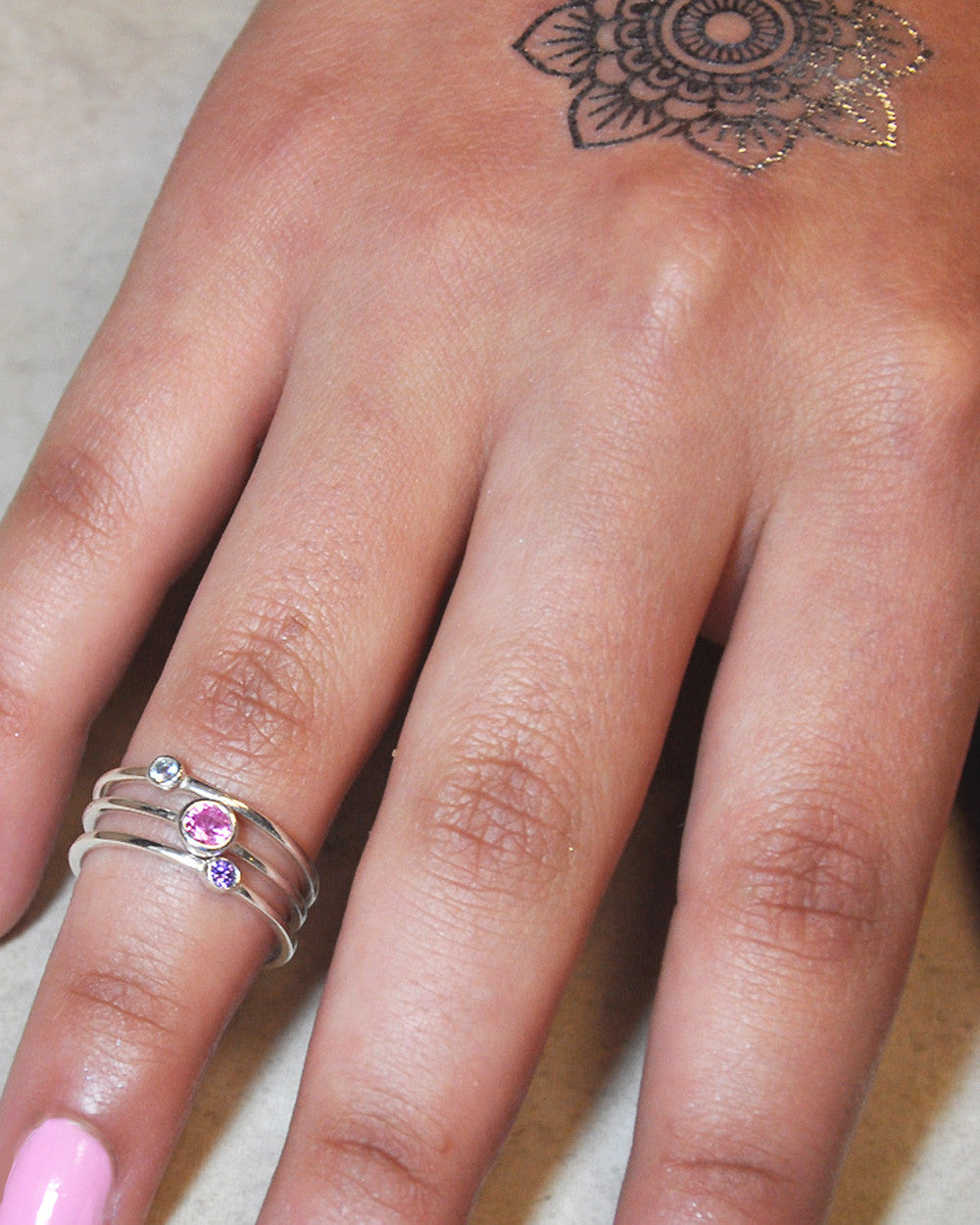 Set of 3 Stackable Sterling Silver Band Rings with Crystals