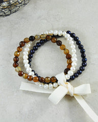 Grounding and Strength - Set of 3 Mini Gemstone Energy Bracelets - Sivalya