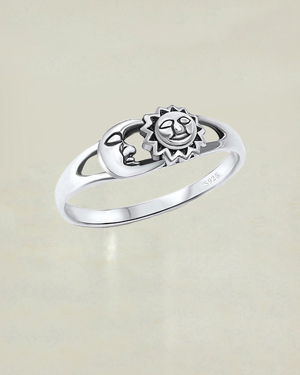 Sun And Moon Oxidized Sterling Silver Band Ring
