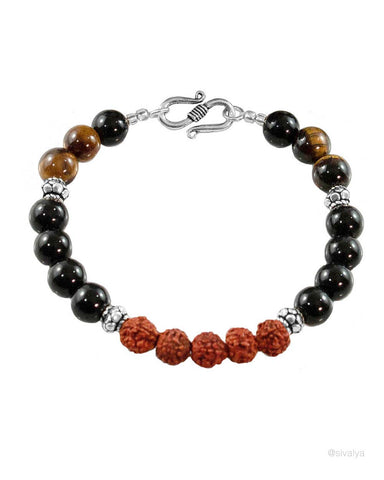 Tapas Rudraksha Power Beads Wrist Mala Sterling Silver
