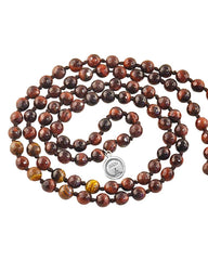 Fire Element Tiger's Eye 108 Beads Mala with Silver Eye Guru Bead