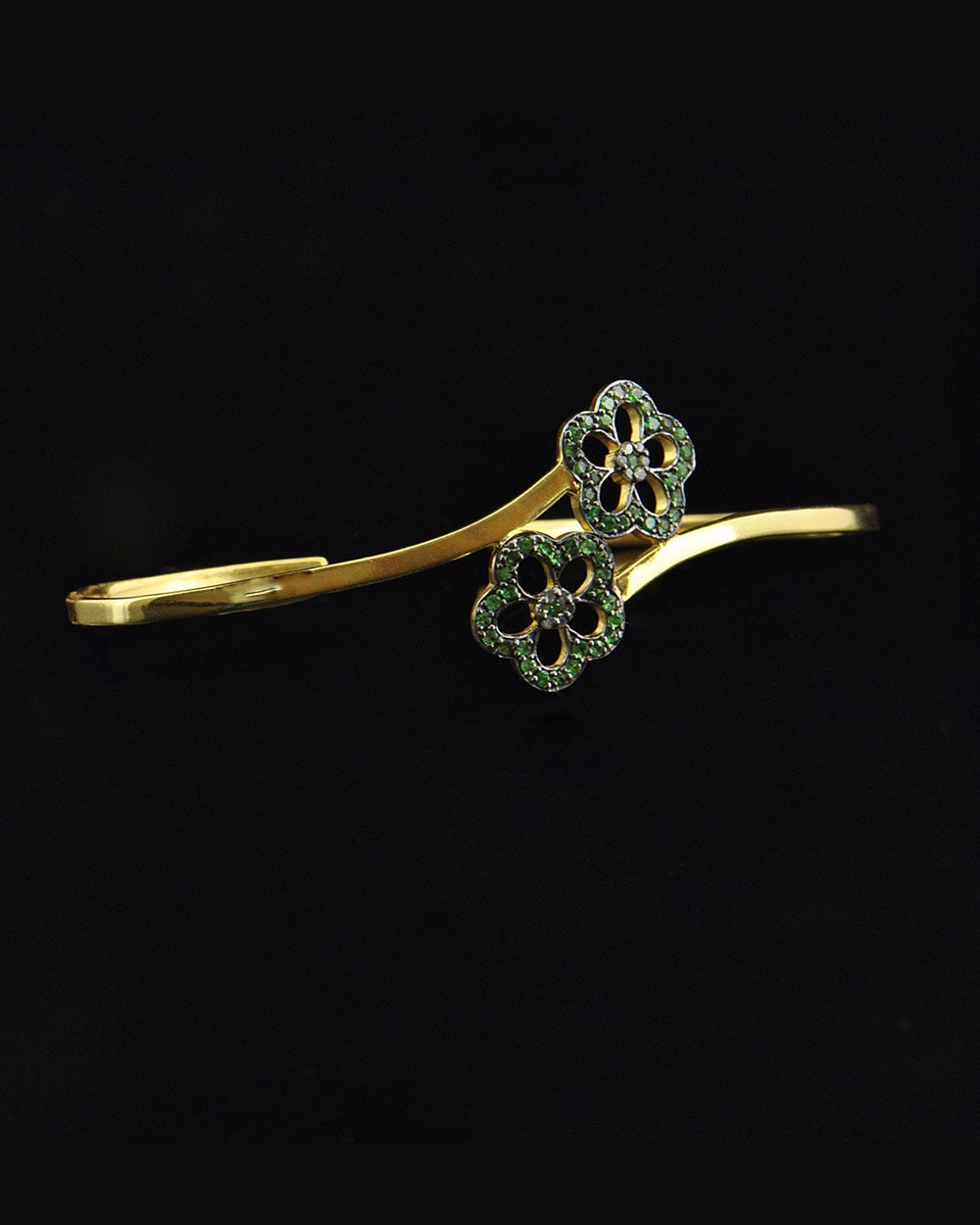 Diamond and Tsavorite Palm Cuff Hand Bracelet