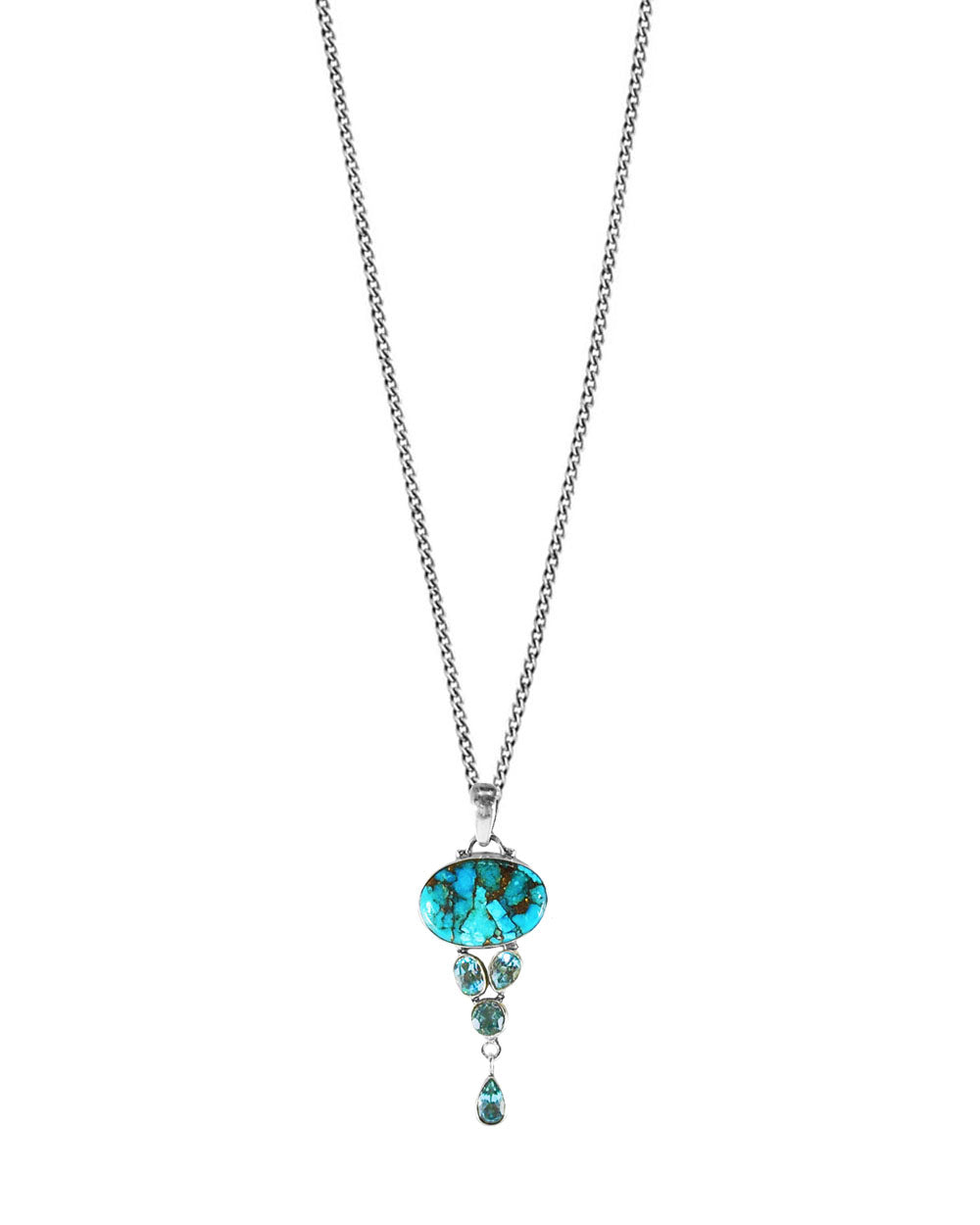 Turquoise and Blue Topaz Multi-gem Sterling Silver Necklace