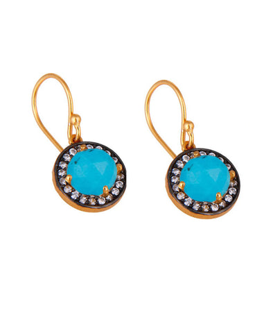 Halo Turquoise and White Topaz Pave Earrings in Gold Vermeil