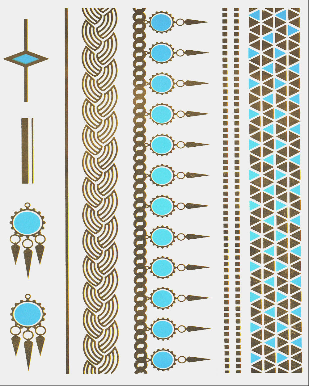 Turquoise and Gold Treasure Metallic Flash Tattoo Pack - Silver Trendz