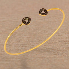 Twin Hearts Diamonds Cuff Bracelet in Gold Vermeil