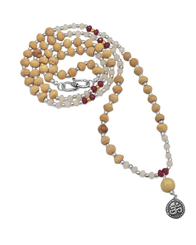 Universal Om Mantra Tusli and Moonstone Mala