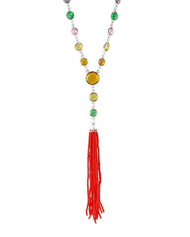 Valentina Beaded Tassel Necklace in Sterling Silver