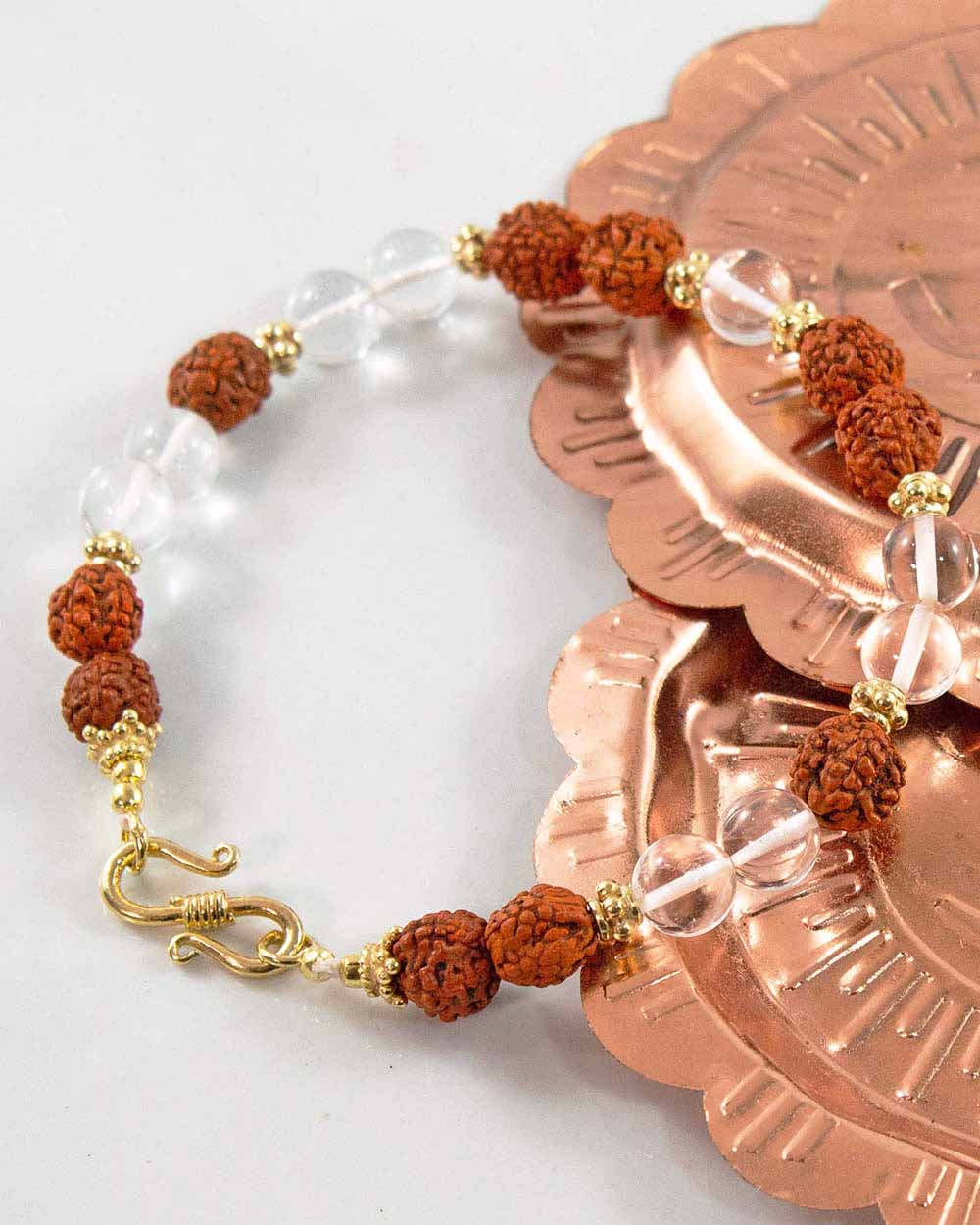 Veda Rudraksha and Clear Crystal Wrist Mala Gold
