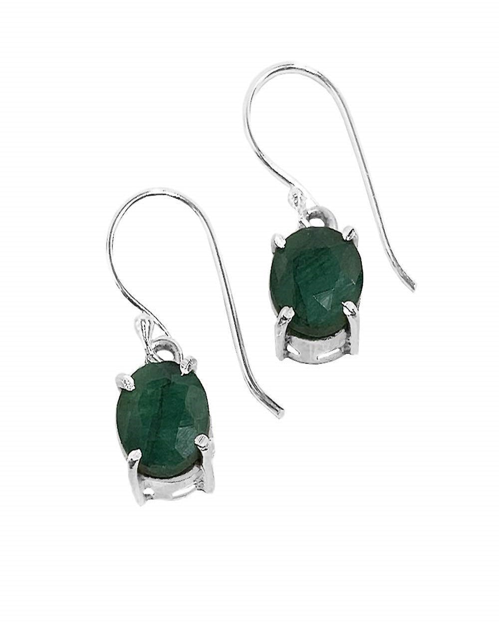 Cushion Cut Raw Emerald Earrings in Sterling Silver