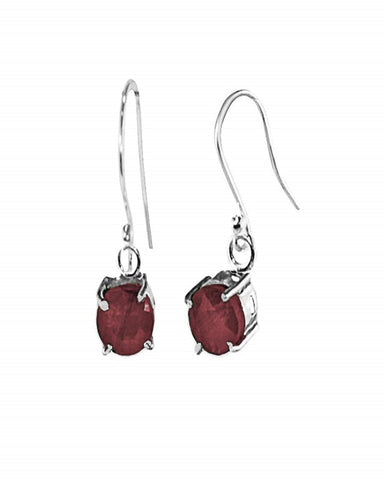 Cushion Cut Raw Ruby Earrings in Sterling Silver
