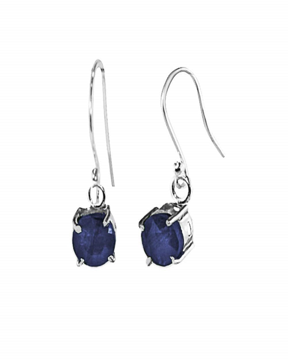 Venus Cushion Cut Raw Sapphire Earrings in Sterling Silver