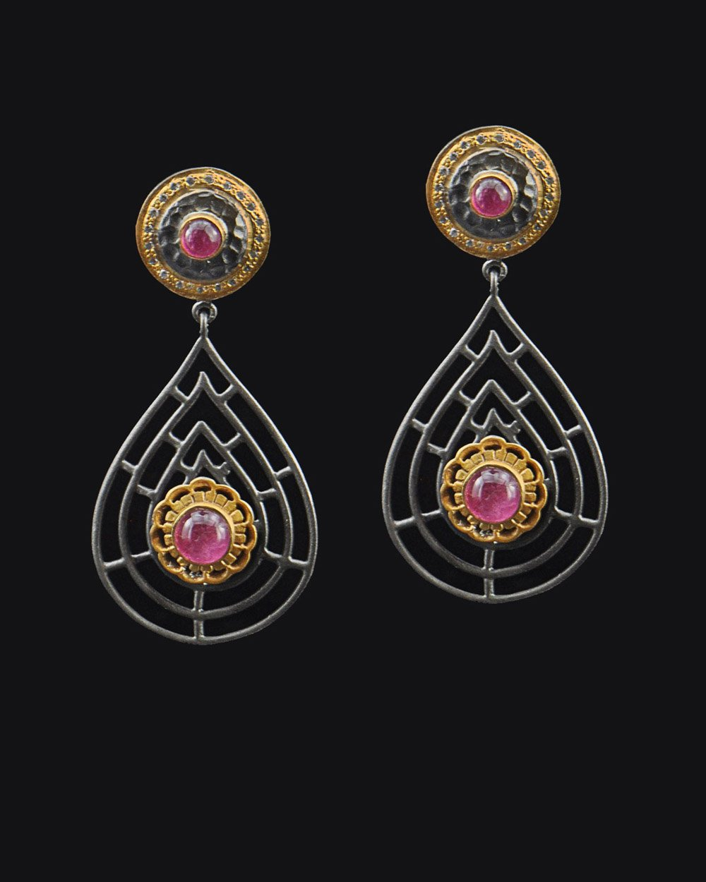 Victorian Style Tourmaline and Crystals Earrings