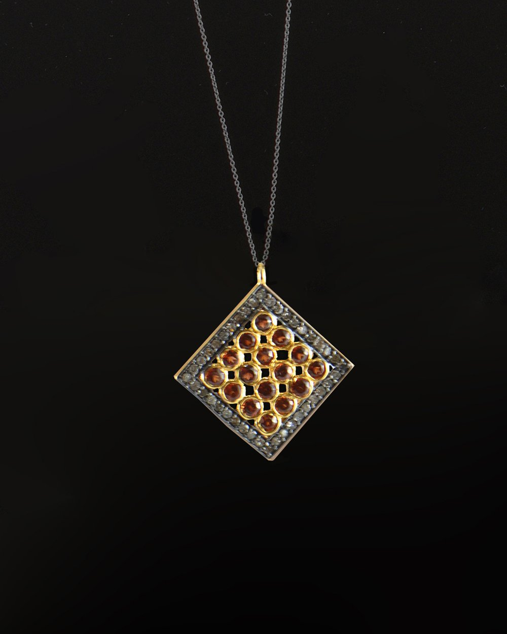 Rubies and Diamonds Necklace in Gold Vermeil
