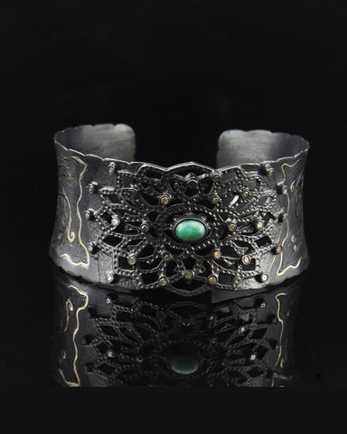 Antique Cut Diamond Cuff Bracelet in Oxidized Sterling Silver