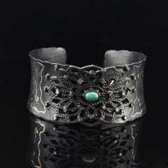 Vintage Antique Cut Diamonds Cuff Bracelet in Black Rhodium
