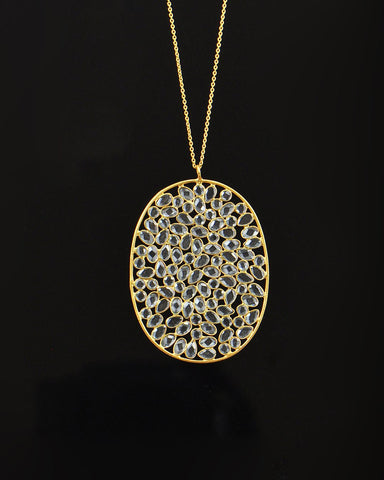 Spectacular Handset Moonstone Pendant Necklace in Gold Vermeil