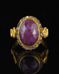 Vintage Ruby and Rose-Cut Diamonds Halo Ring