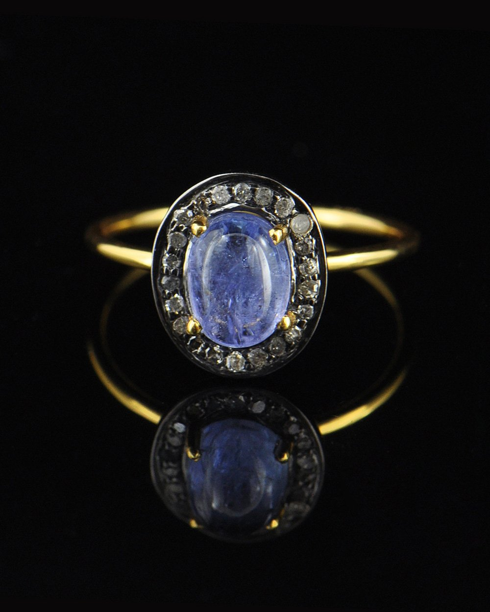 Tanzanite and Pave Diamonds Ring in Gold Vermeil