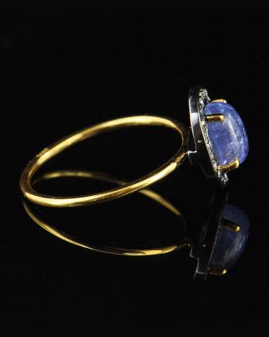 Vintage Tanzanite and Pave Diamonds Ring in Gold Vermeil