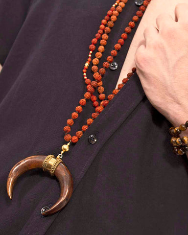 Warrior Rudraksha Double Horn Mens Mala
