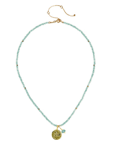 Water Elements Necklace with Aquamarine in Gold Vermeil