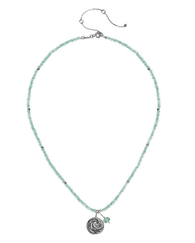 Water Elements Necklace with Aquamarine in Sterling Silver