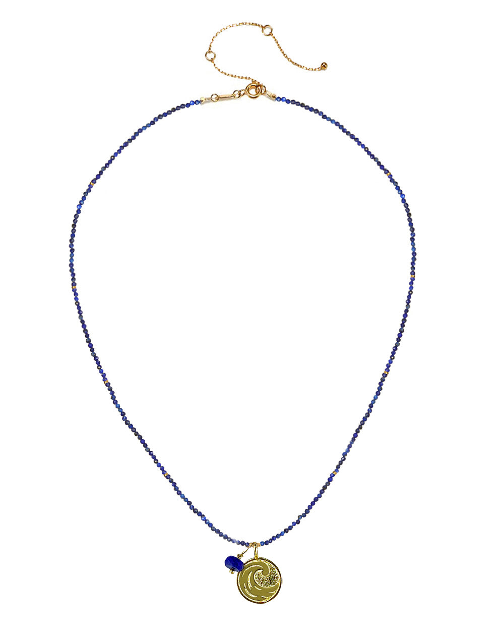 Water Elements Necklace with Lapis in Gold Vermeil