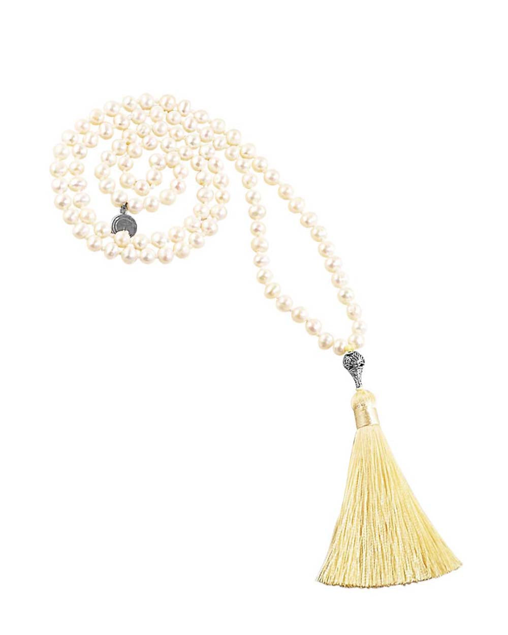 Water Element White Pearl 108 Beads Mala with Silver Lotus Guru Bead