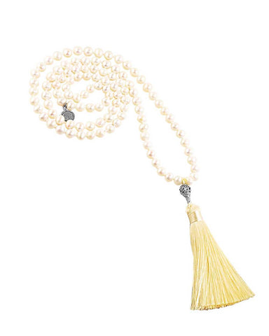 Water Element White Pearl 108 Beads Mala with Silver Om Guru Bead