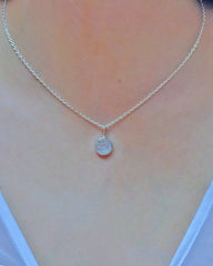 Round Druzy Drop Necklace in Sterling Silver - Sivalya