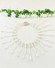 White Crystals and Pearls Cascading Choker Necklace in Sterling Silver