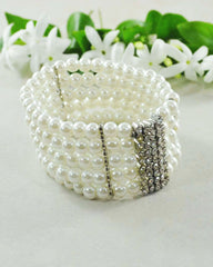 White Pearls and Crystals Multi Layered Bracelet