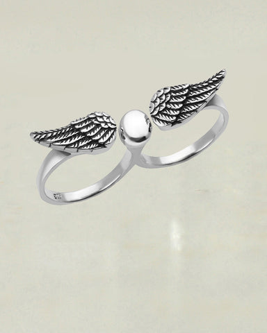 Angel Wings Double Two Finger Ring Sterling Silver Adjustable