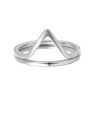 Wishbone 925 Sterling Silver Ring Set Of 2