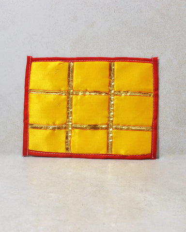 Yellow Silk Sacred Space Decorative Altar Cloth with Gold Trims