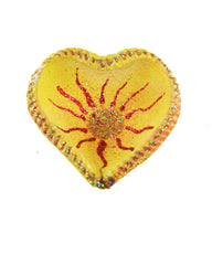 Natural Terracotta Heart Hand-painted Offering Bowl
