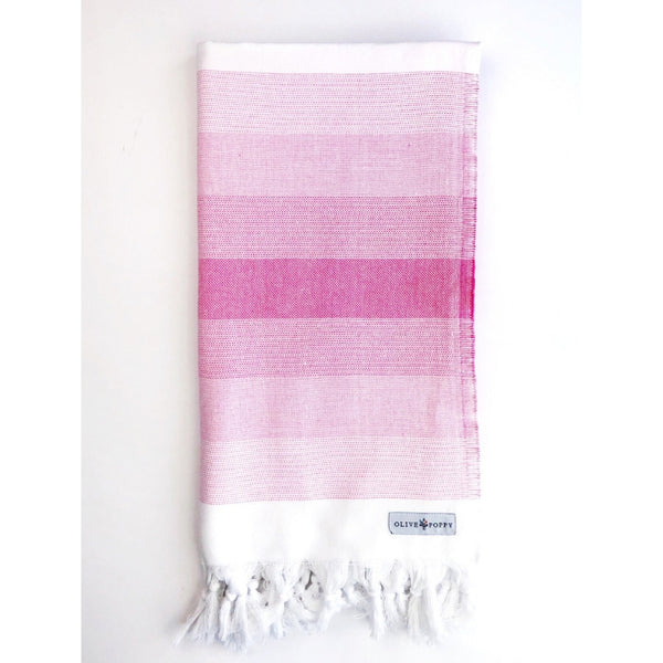 """Sit and Sip"" Rosé Turkish Towel - Olive and Poppy"