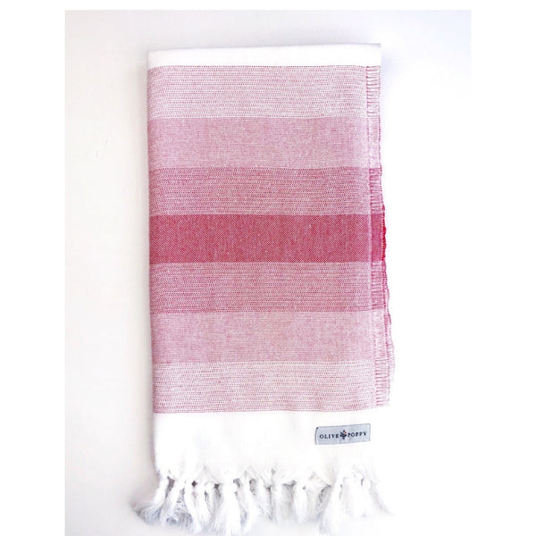 """Sit and Sip"" Cabernet Turkish Towel - Olive and Poppy"