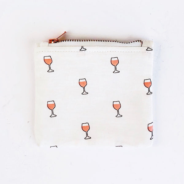 Coin Purse - Pink Wine Glasses