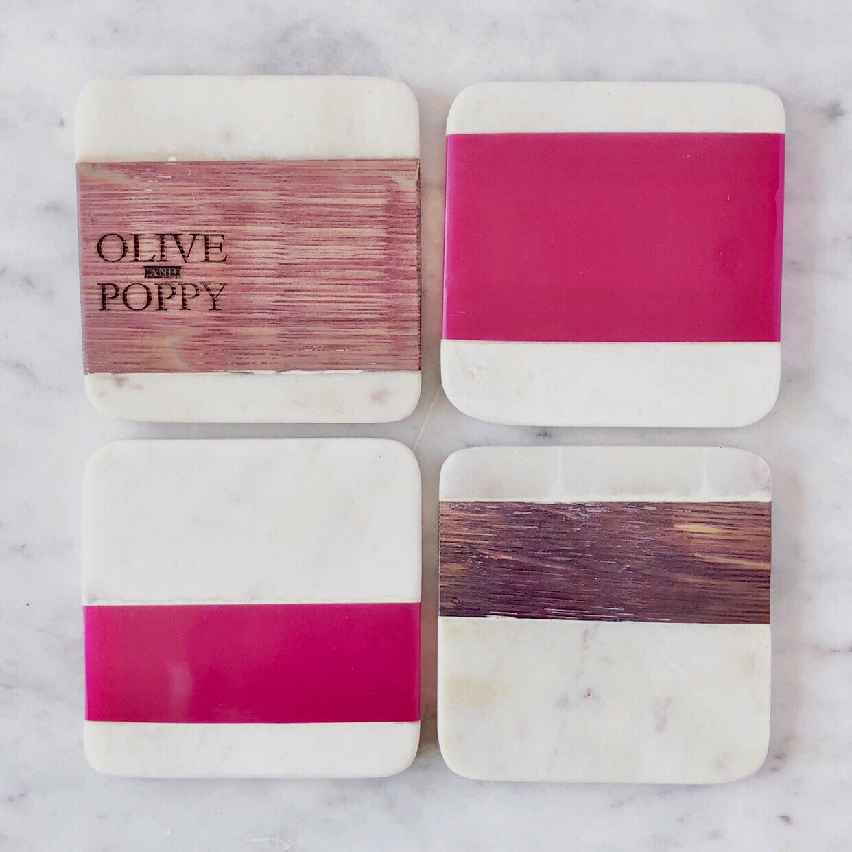 Barrel Wood Coaster Set - Olive and Poppy