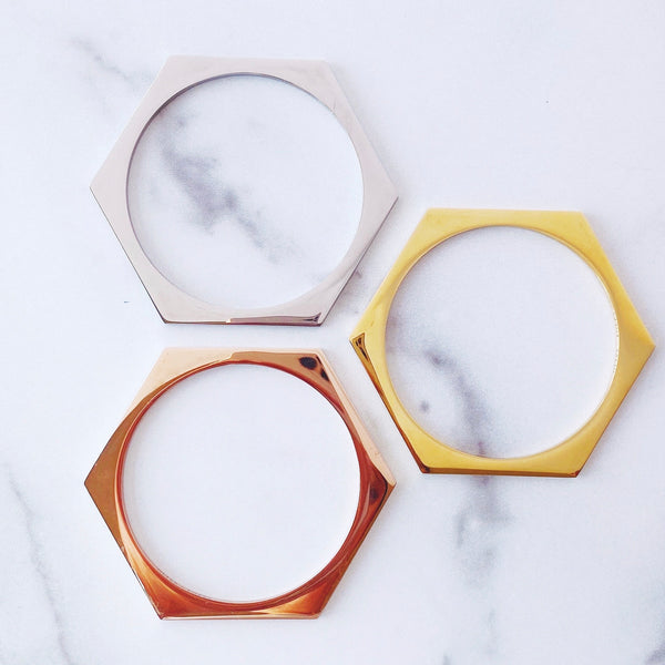Metallic Hexagon Stacking Bracelets