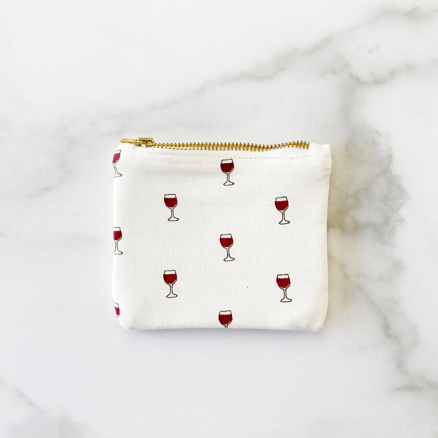 Coin Purse - Red Wine Glasses - Olive and Poppy