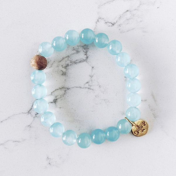 Barrel Bead Bracelet - Aquamarine