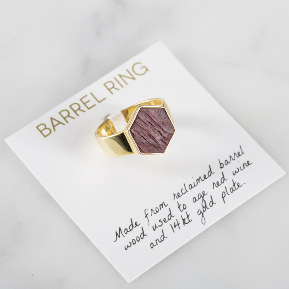 Barrel Ring - Gold - Olive and Poppy